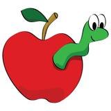 Apple con el gusano Fotos de archivo
