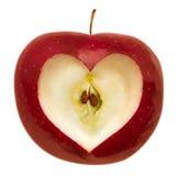 Apple con figura del cuore Fotografie Stock