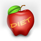 Apple con l'iscrizione è a dieta Immagini Stock Libere da Diritti