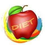 Apple con l'iscrizione è a dieta Immagine Stock