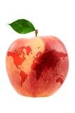 Apple con la correspondencia de mundo Imagenes de archivo