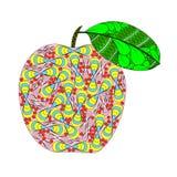 Apple con la hoja en zenart diseña, ejemplo de color en el CCB blanco stock de ilustración