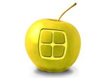 Apple con una finestra su una priorità bassa bianca Fotografie Stock Libere da Diritti