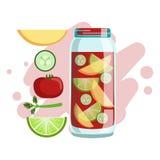 Apple, concombre, Smoothie de tomate et de chaux, cocktail frais sans alcool dans un verre et les ingrédients pour lui vecteur Images stock