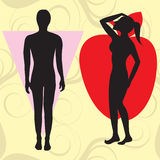 Apple Cone Body Type. Vector Illustration of female body shape apple also known as cone. Shape with wider upper body and narrow hips Royalty Free Stock Images