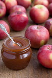 Apple confiture in Glass Jar with apples Royalty Free Stock Photo