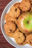 Apple cookies with chocolate chips stock photography