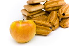 Apple and cookies Royalty Free Stock Images