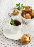 Apple cookies. And cup of tea Royalty Free Stock Images