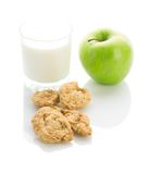 Apple cookies and milk Royalty Free Stock Photography