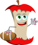 Apple core as American football player Royalty Free Stock Photos