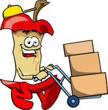 Apple core as delivery man Stock Images