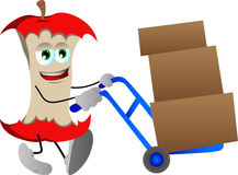 Apple core as delivery man Royalty Free Stock Image