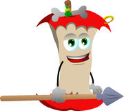 Apple core as native holding a spear Royalty Free Stock Photo