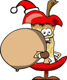 Apple core as Santa Claus with a big sack Stock Images