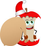 Apple core as Santa Claus with a big sack Royalty Free Stock Image