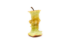 Apple core. A bitten apple on white background Royalty Free Stock Photos