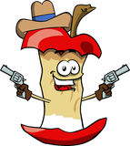 Apple core cowboy with gun Royalty Free Stock Images