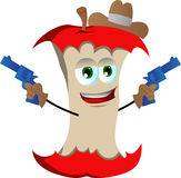 Apple core cowboy with gun Stock Images
