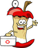 Apple core doctor with first aid kit Stock Photos