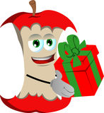 Apple core giving you a gift box Royalty Free Stock Photos