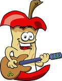 Apple core guitar player Royalty Free Stock Image