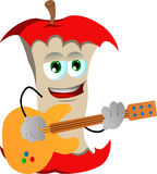 Apple core guitar player Royalty Free Stock Photos