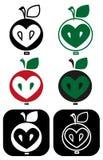 Apple core heart Stock Image