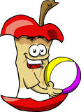 Apple core holding a beach ball Royalty Free Stock Photo