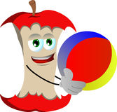 Apple core holding a beach ball Royalty Free Stock Images