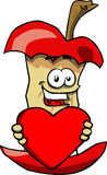 Apple core holding a big red heart Royalty Free Stock Photo