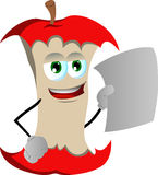 Apple core holding a blank paper Royalty Free Stock Photography