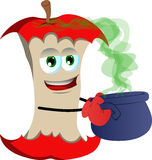 Apple core holding cauldron with potion Royalty Free Stock Photography