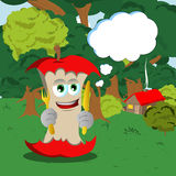 Apple core holding fork and knife in the forest with speech bubble Royalty Free Stock Image