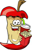 Apple core holding popcorn and soft drink Stock Images