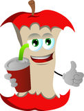Apple core holding soda and showing thumb up sign Royalty Free Stock Photo