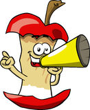Apple core with megaphone Royalty Free Stock Images