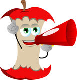 Apple core with megaphone Stock Photos