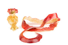 Apple core and peel. Isolated Stock Photos