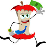 Apple core running with money Royalty Free Stock Photo