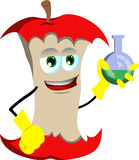 Apple core scientist holds beaker of chemicals Royalty Free Stock Photography