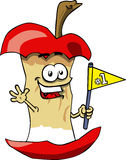 Apple core sports fan with flag Royalty Free Stock Photos
