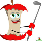 Apple core swinging his golf club Royalty Free Stock Photo