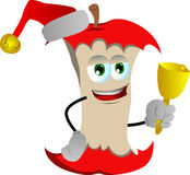 Apple core wearing Santa's hat and playing bell Royalty Free Stock Photography