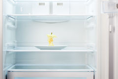 Apple core on white plate in open empty refrigerator. Weight loss diet concept Royalty Free Stock Photo