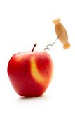 Apple with corkscrew Stock Images