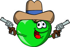 Apple cowboy with gun Stock Image