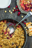 Apple and cranberry crumble Stock Photo
