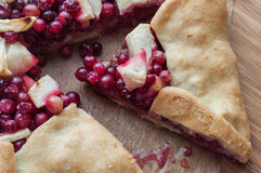Apple and Cranberry Galette. Autumn dessert cranberry galette with apple Stock Image