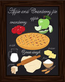 Apple cranberry pie drawn in chalk Stock Images